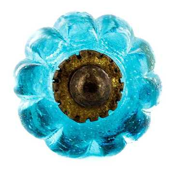 Turquoise Glass Melon Shaped Knob